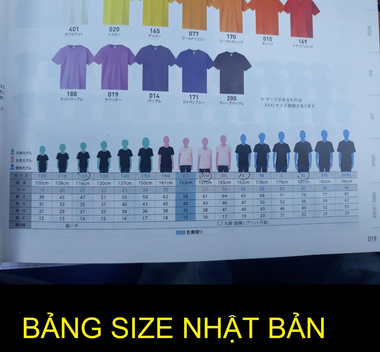 Bảng size trẻ em Nhật Bản