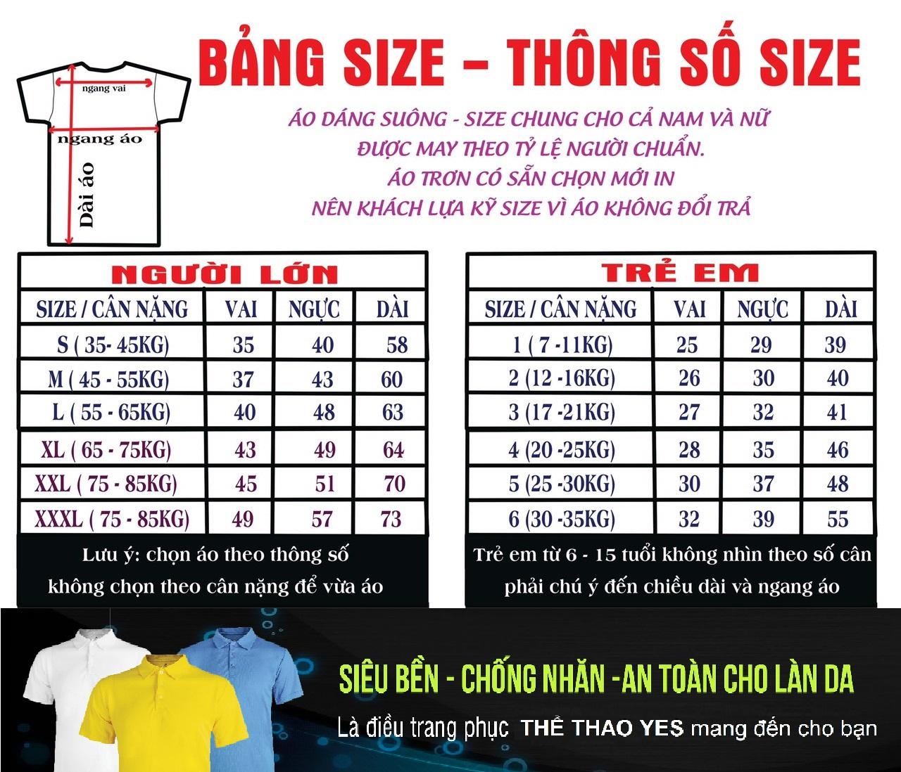 Bảng size áo thun có sẵn chỉ cần in lên giá rẻ